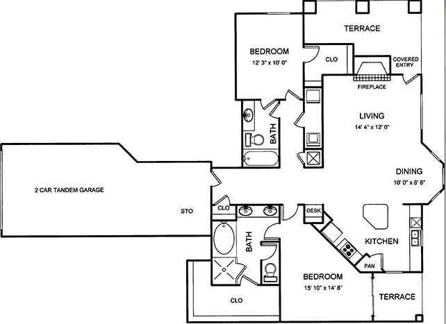 1,371 sq. ft. floor plan
