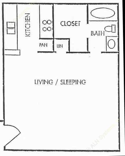 570 sq. ft. EFF-LUX floor plan