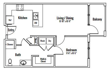 671 sq. ft. Bonnell Alt A1A floor plan