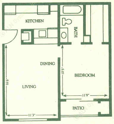 518 sq. ft. A1 floor plan