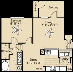 778 sq. ft. Fredricksburg floor plan