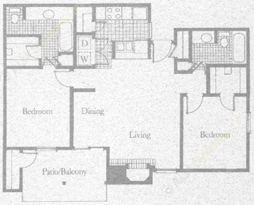 960 sq. ft. 2B2 floor plan