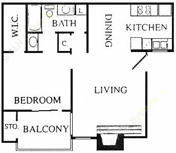 664 sq. ft. Borough floor plan