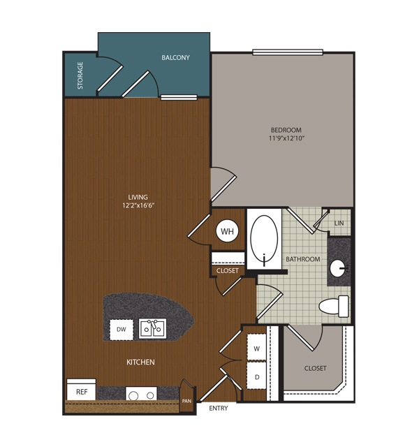 715 sq. ft. to 784 sq. ft. A3 floor plan