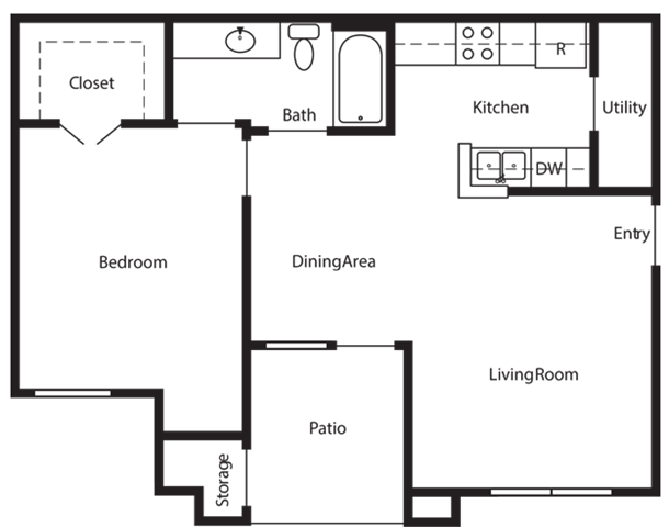 756 sq. ft. B floor plan