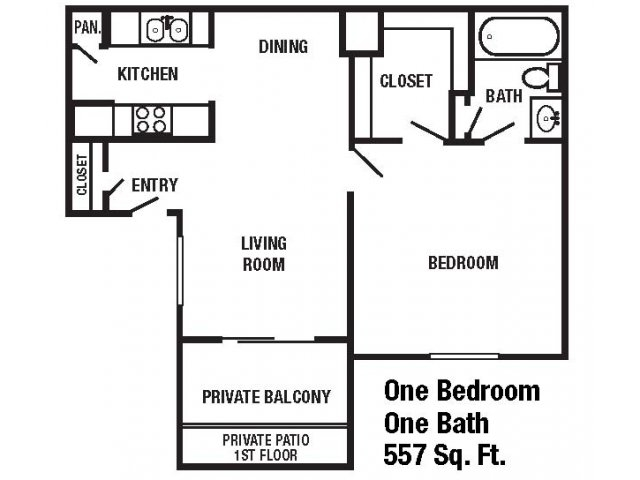 557 sq. ft. floor plan