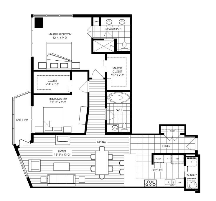 1,412 sq. ft. A1 floor plan