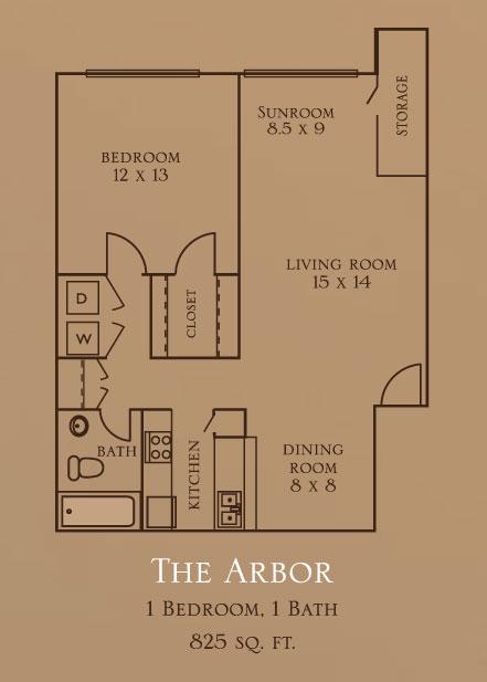 825 sq. ft. A2S floor plan
