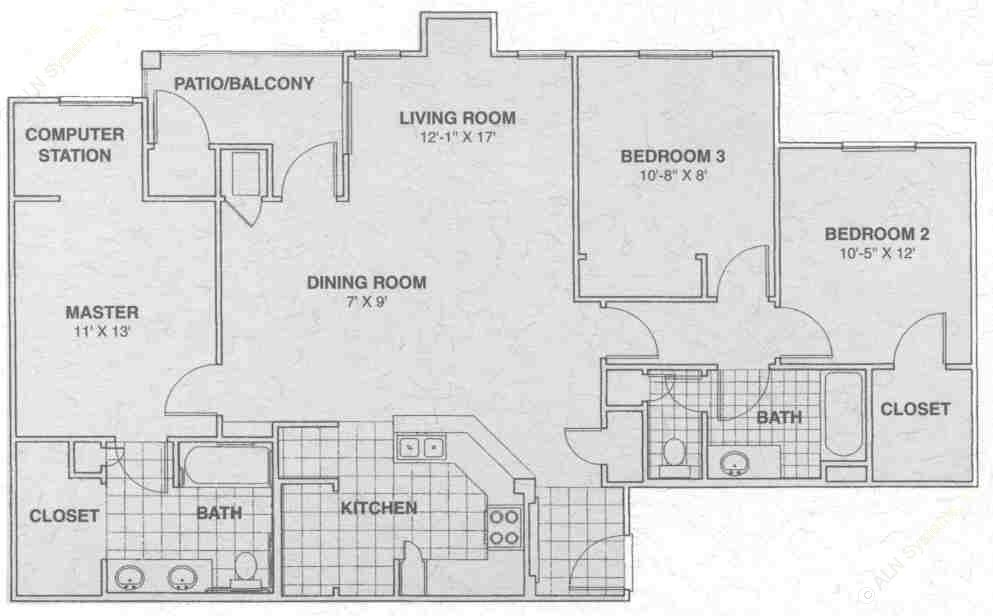 1,036 sq. ft. HILL COUNTRY floor plan