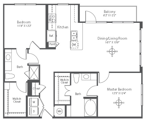1,168 sq. ft. to 1,195 sq. ft. B5 floor plan