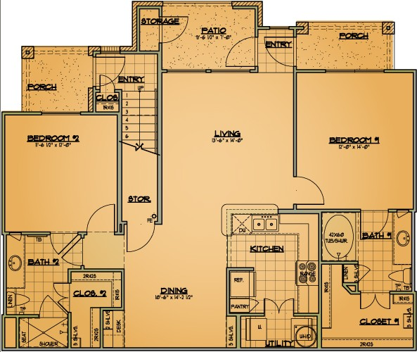1,136 sq. ft. B1 floor plan