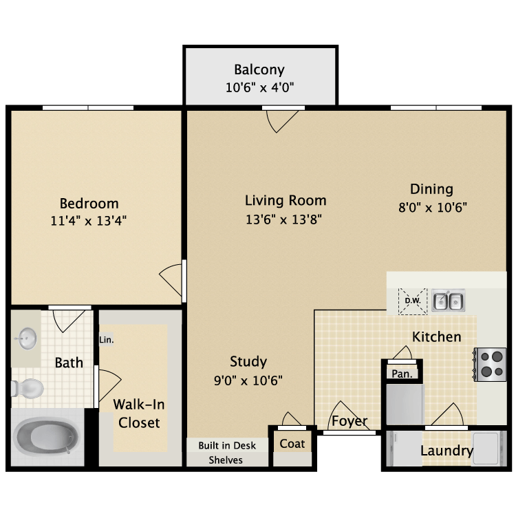830 sq. ft. II A3 floor plan