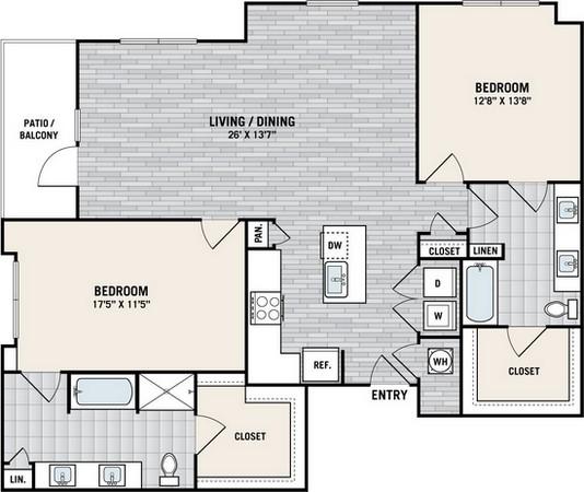 1,397 sq. ft. B8A floor plan