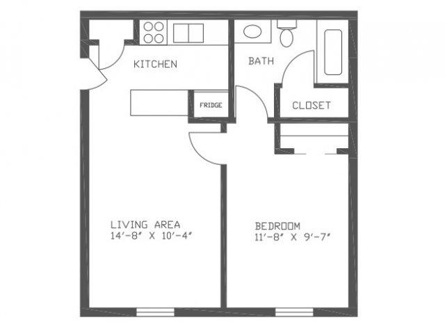 500 sq. ft. SN1 floor plan