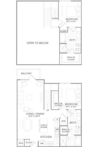1,292 sq. ft. B5 floor plan