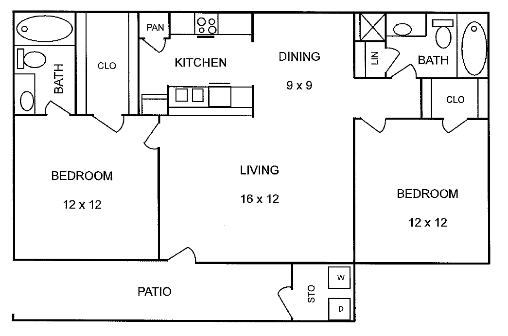866 sq. ft. Sycamore floor plan