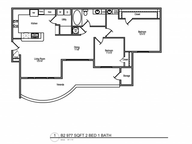 1,152 sq. ft. D3,2 floor plan