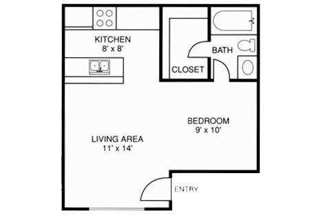447 sq. ft. 1X1 floor plan
