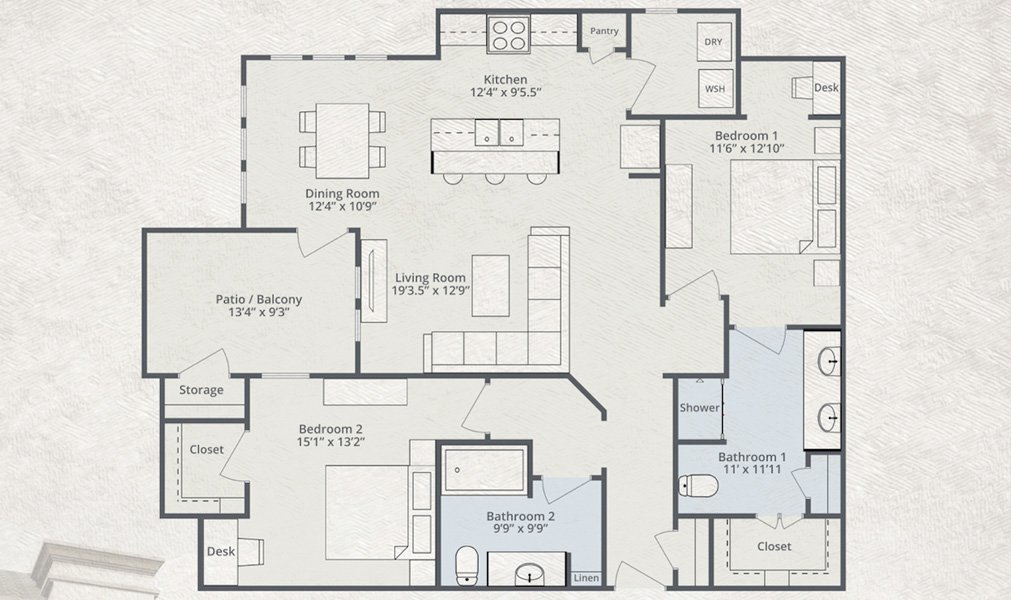 1,434 sq. ft. Norweigan Air floor plan