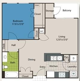 727 sq. ft. A1 floor plan