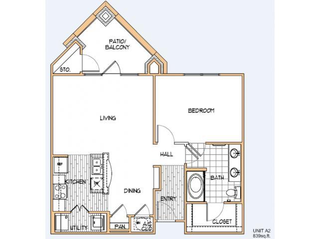 839 sq. ft. A2 floor plan
