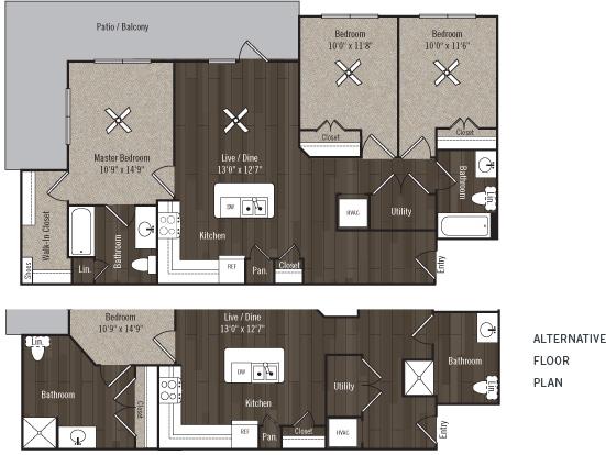 1,206 sq. ft. C2/Zenith/60% floor plan