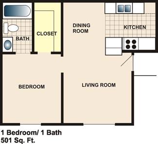501 sq. ft. floor plan