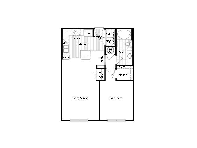 752 sq. ft. A2 floor plan