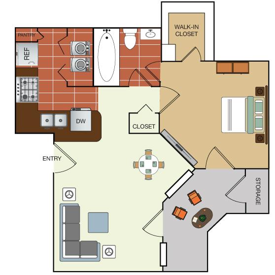 571 sq. ft. 1A floor plan
