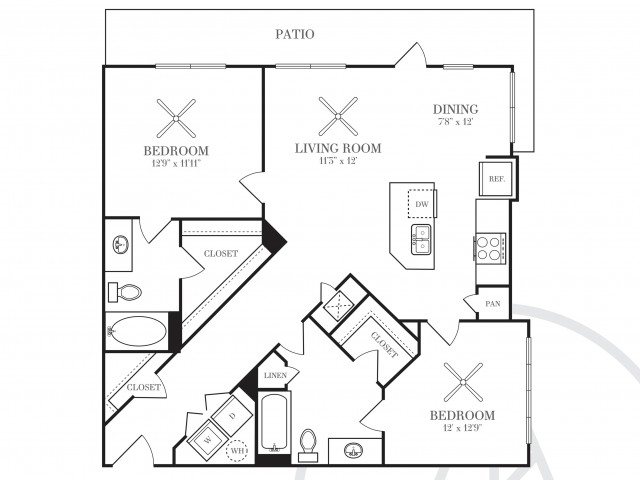 1,059 sq. ft. B2A-HC floor plan