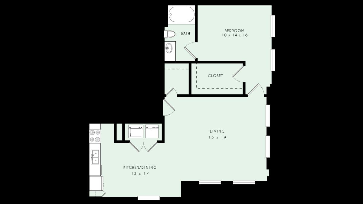 964 sq. ft. A18 80% floor plan