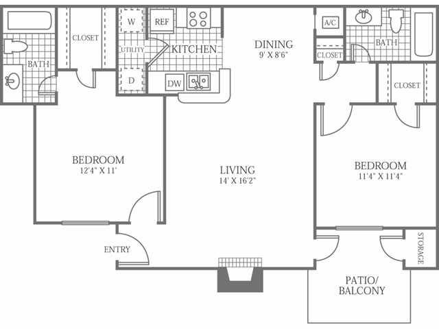 1,000 sq. ft. F floor plan