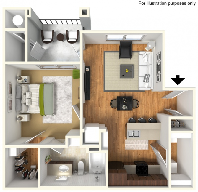 625 sq. ft. A2/50% floor plan