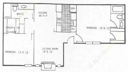 1,000 sq. ft. B1 floor plan