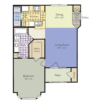 718 sq. ft. to 737 sq. ft. Anna - A1 I floor plan