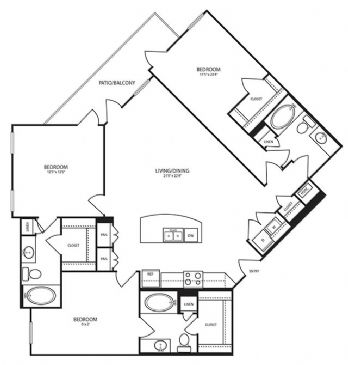 1,416 sq. ft. C2 floor plan