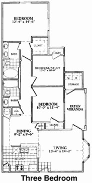 1,251 sq. ft. to 1,263 sq. ft. PHASE II floor plan