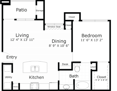 759 sq. ft. Chesapeake floor plan