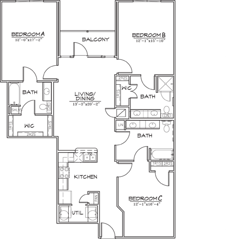 1,497 sq. ft. floor plan
