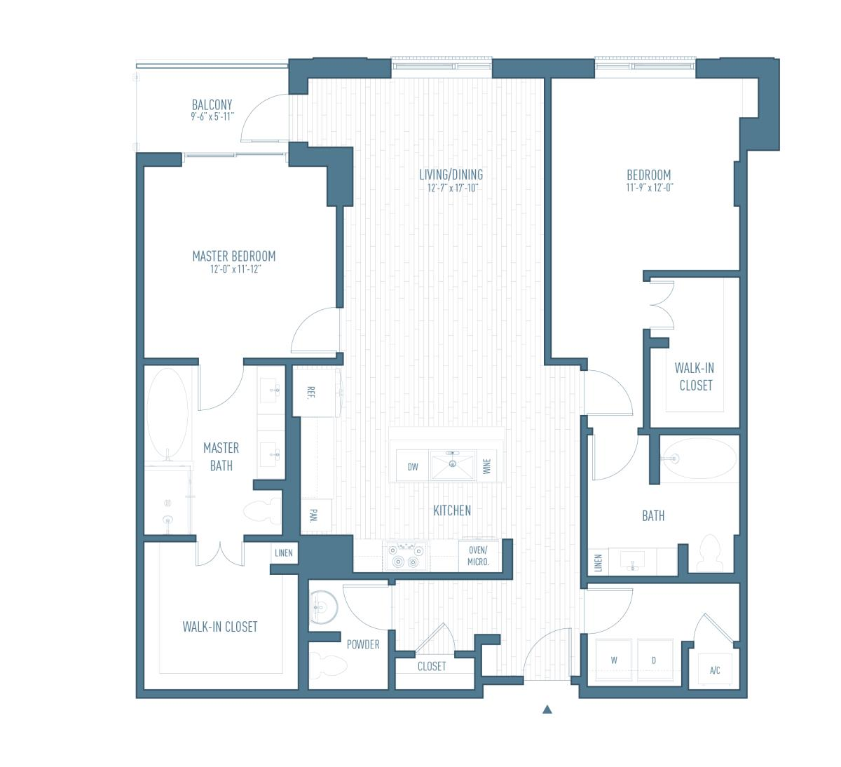 1,468 sq. ft. B12 floor plan