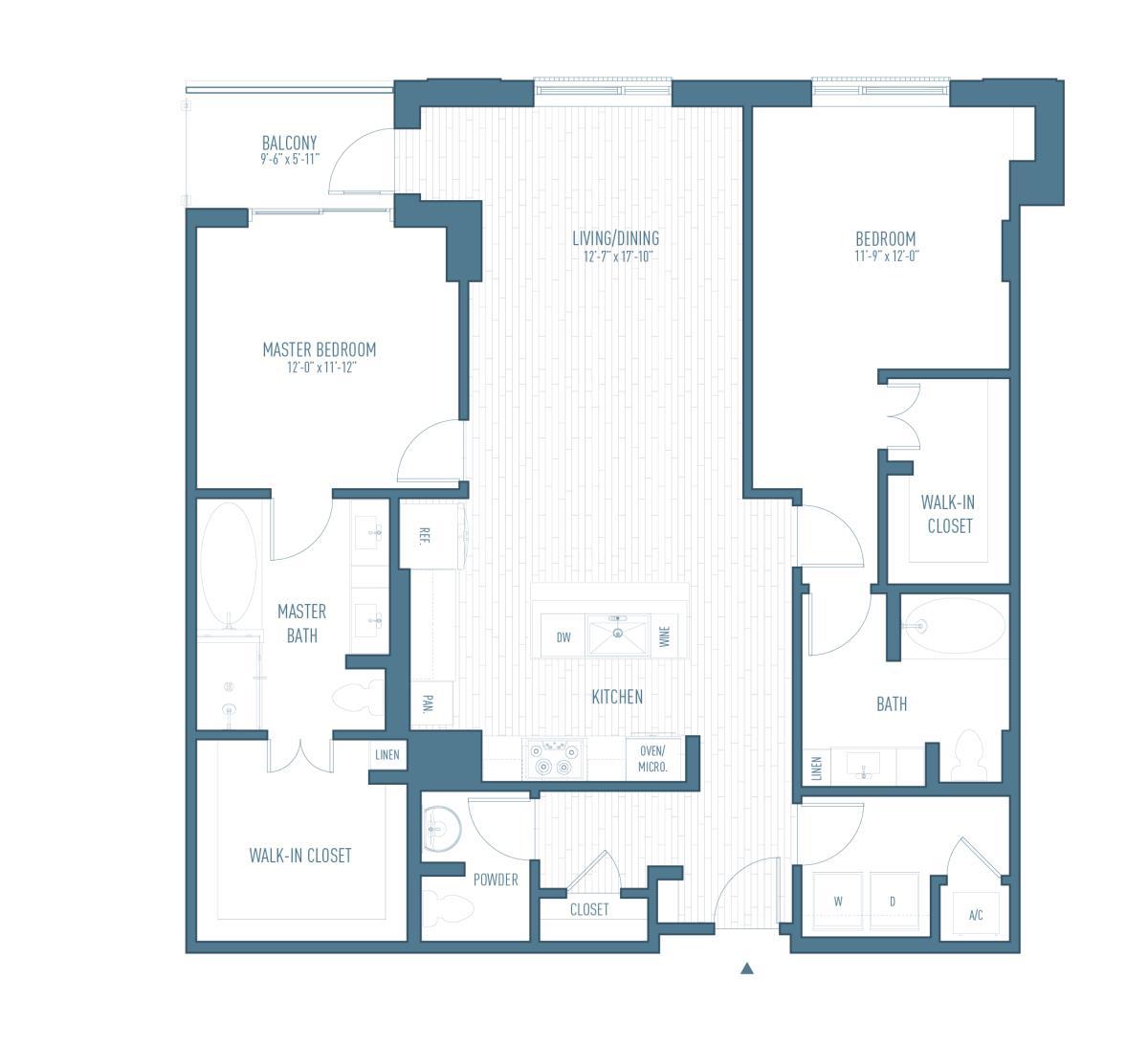 1,468 sq. ft. B12 floor plan