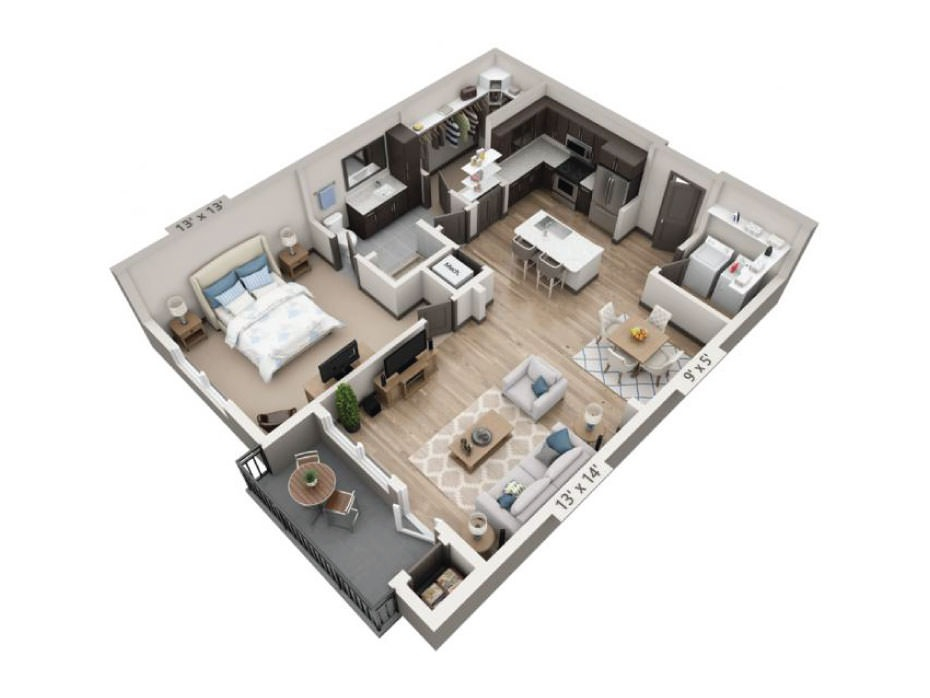 903 sq. ft. to 905 sq. ft. Comal floor plan