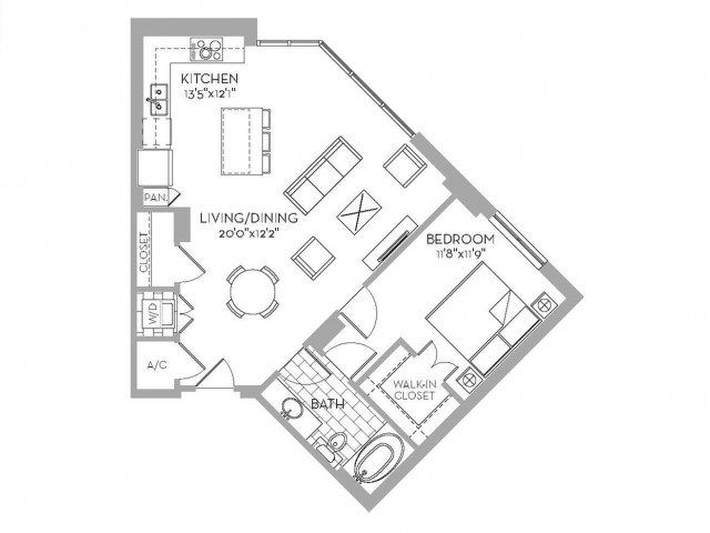 847 sq. ft. Royal(A.11) floor plan