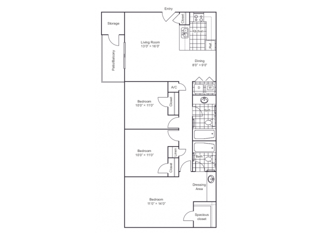 1,135 sq. ft. C1 floor plan