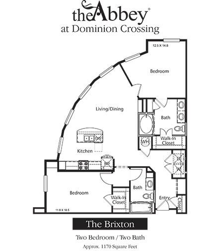 1,170 sq. ft. Brixton floor plan