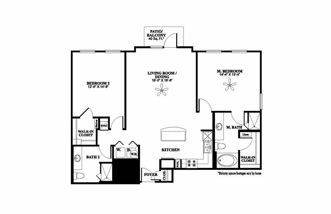 1,248 sq. ft. B2.1 floor plan