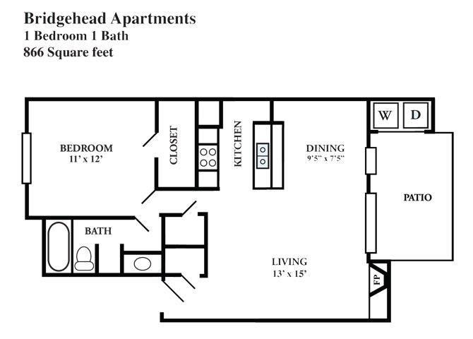 866 sq. ft. E floor plan