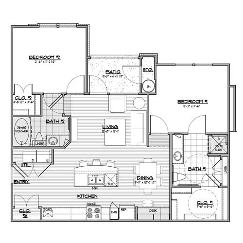 1,035 sq. ft. B1-HC floor plan