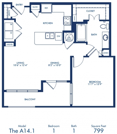799 sq. ft. A14.1 floor plan