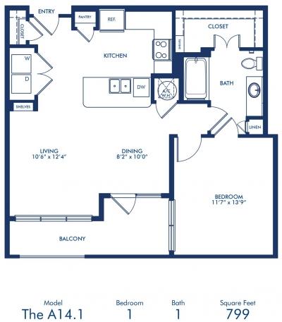 799 sq. ft. A14.1 floor plan